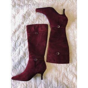 Bandolino Maroon Suede High Heeled Boots